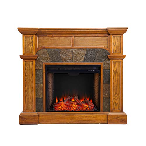 Southern Enterprises Cartwright Corner Convertible Alexa-Enabled Smart Fireplace with Faux Stone Surround, Oak (Unit Corner Ventless Gas Fireplace)