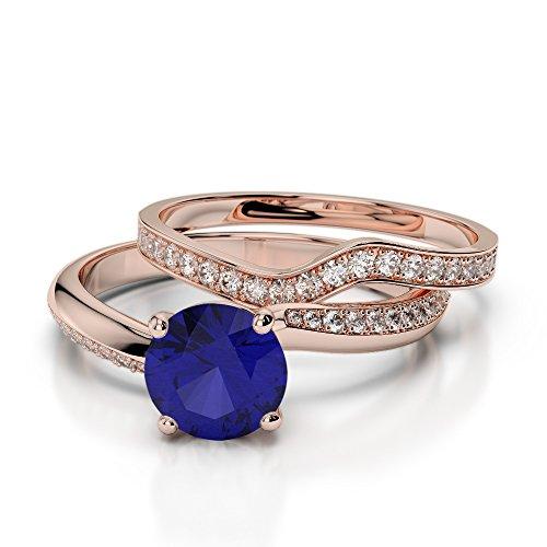 Or Rose 18carats 1CT G-H/VS sertie de diamants ronds Cut Saphir et mariée Bague de fiançailles et ensemble de Agdr-2017