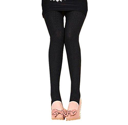 Tongshi Invierno caliente chica mujeres cómodo algodón medias Pantalones Leggings estribo pantalones (negro, Tamaño libre) negro