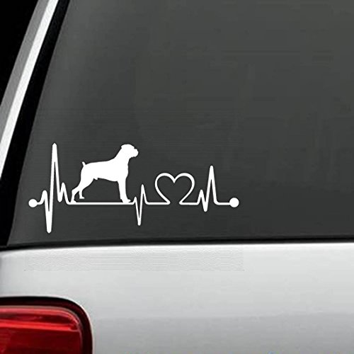 K1052 Boxer Natural Floppy Ears Heartbeat Lifeline Monitor Non Cropped Decal Sticker ()