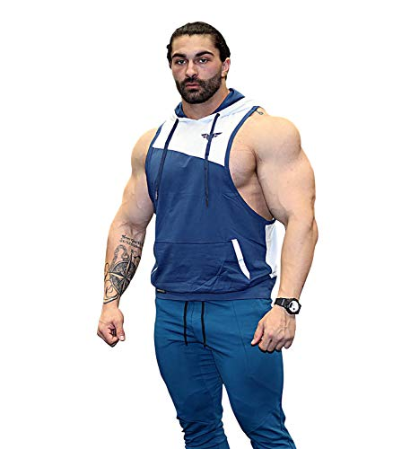 FLEX-N-FLEX Mens Bodybuilding Stringer Hoodie Lightweight Gym Tank Top Racerback Hoodie (X-Small, Navy/White)
