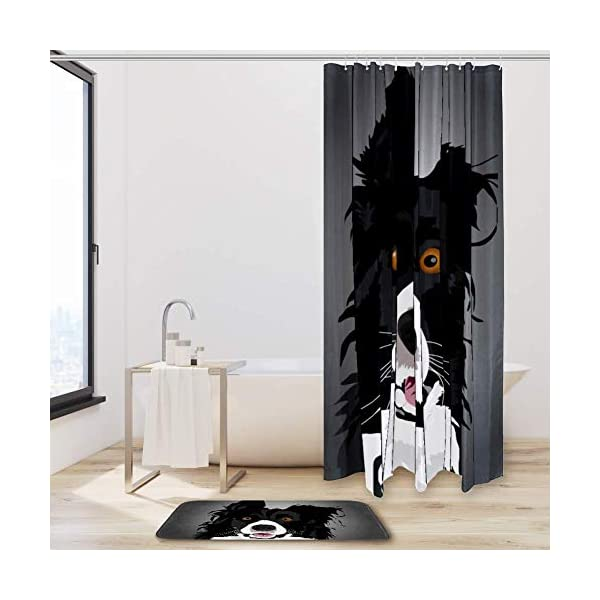 Watercolor Border Collie Shower Curtain Set Fabric Anti-Mildew and Waterproof with 12 Hooks Bathroom Decorative Machine Washable 72x72in/19.6x31.4in 2