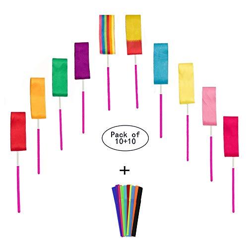SAILING-GO 10 Dance Ribbons Streamers Rhythmic Gymnastics Ribbon Wands for Children Art Dance, Rotating Baton, 10 Colors