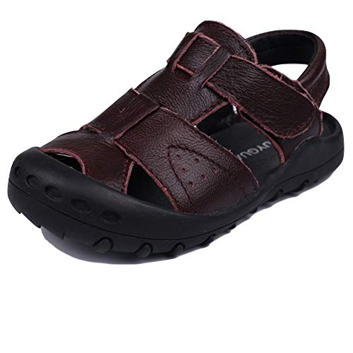MuyGuay Toddler Boys Sandals Closed Toe Sandals for Kids Baby Boys Genuine Leather Summer Shoes with Non-Slip Rubber Sole (13 M US Little Kid, ()