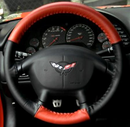 Corvette Steering Wheel Cover Euro-Style Two-Tone : 1997-2004 C5 & Z06 (Red/Black) (Euro Steering Wheel)