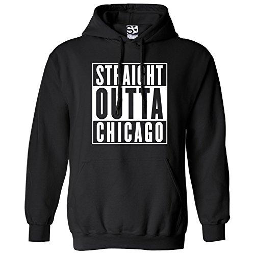 Shirt Boss Unisex Straight Outta Chicago HOODIE 4XL Black / White