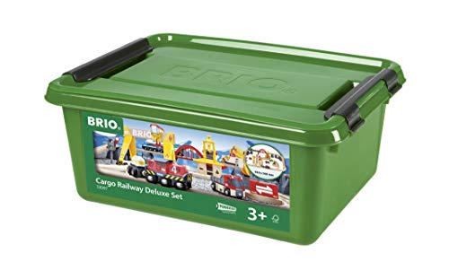 BRIO 33097 Cargo Railway Deluxe Set | 54 Piece Train Toy with Accessories and Wooden Tracks for Kids Age 3 and Up