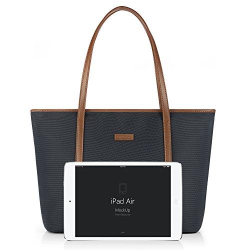 CHICECO Nylon Arbeit Shopper Tasche Handtasche Damen - Blau und Braun Blau+braun