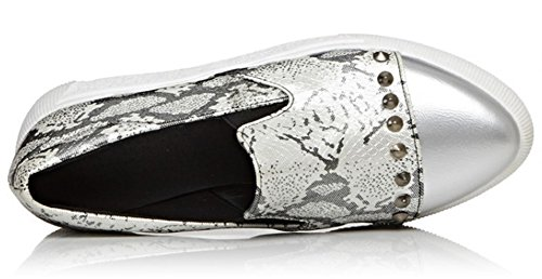 Print Summerwhisper Shoes Platform Pointed Sneakers Loafers Elastic Silver Trendy on Slip Rivets Toe Studded Womens TrvExr
