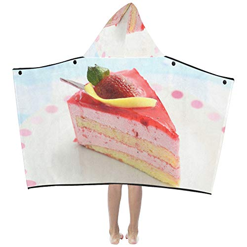 Danexwi Huge Strawberry Cake Cupcake Soft Warm Cotton Blended Kids Dress Up Hooded Wearable Blanket Bath Towels Throw Wrap for Toddlers Child Girls Boys Size Home Travel Picnic Sleep Gifts Beach