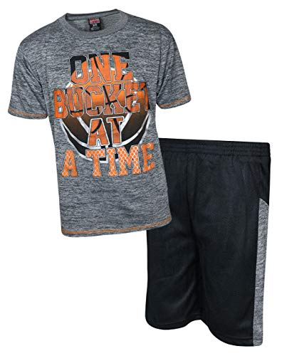 - Mad Game Boys 2-Piece Basketball Performance Short Sleeve T-Shirt and Shorts Set (Grey Bucket, 16/18)'