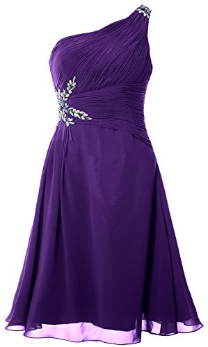MACloth Women One Shoulder Cocktail Dress Short Wedding Party Formal Gown Morado