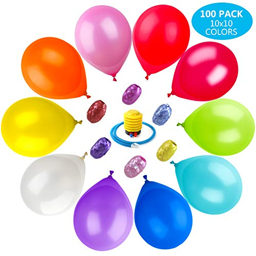 Party Balloons 100 Pcs 12 Inch with Pump, Ribbons Assorted Color Set Helium Latex Balloons for Party Birthday Holidays Decoration