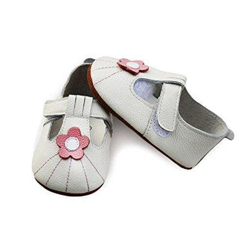 fygood Baby Soft Sole zapatos de piel Zapatitos para verano rojo rosso Talla:XL:18-24months/inner length:5.51in white flower