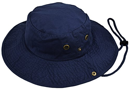Deewang Summer Bucket Cap, Sun Hat With Adjustable CHINSTRAP, Outdoor Hunting Fishing Safari boonie Hat (Navy, Large/X-Large)
