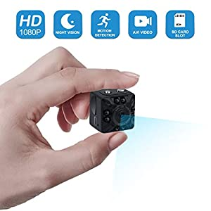 Mini Spy Hidden Camera,1080P Portable Small HD Nanny Cam Motion Detection and Night Vision, Perfect Indoor Covert Security Camera for Home and Office-No WiFi Function
