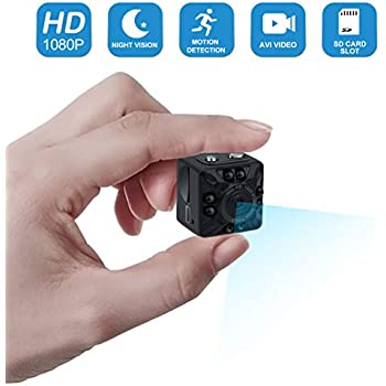 Mini Spy Hidden Camera,1080P Portable Small HD Nanny Cam Motion Detection and Night Vision, Perfect Indoor Covert Security Camera for Home and Office-No ...