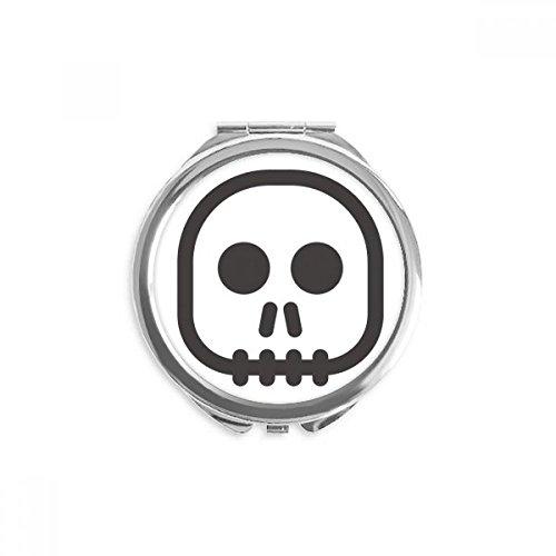 Square Skeleton Emoji Mirror Round Portable Hand Pocket Makeup ()