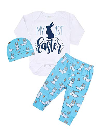 My 1st Easter Newborn Baby Boy Girl Clothes Long Sleeve Romper Top + Bunny Pants + Cute Hat 3pcs Outfit Set (3-6 ()