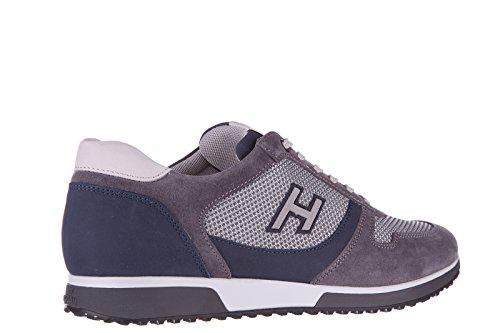 Hogan chaussures baskets sneakers homme en daim h198 slash h flock gris
