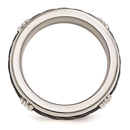 Titanium & Cable Polished 7mm Wedding Ring Band Size 8 by Edward Mirell by Venture Edward Mirell Titanium Bands (Image #2)