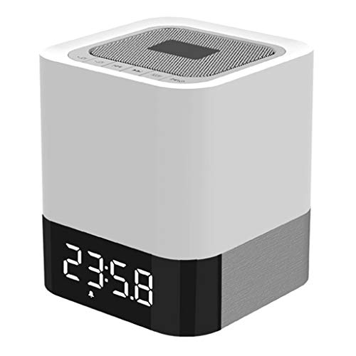 Weite 5-in-1 Wireless Bluetooth V4.0 Portable HiFi Speaker with Dimmable Smart Touch Control Color Changing Night Light, Digital Alarm Clock, MP3 Music Player, Hands Free Call (White) by Weite (Image #1)