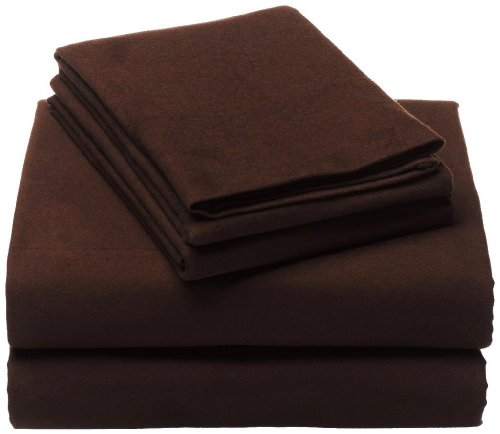 Clara Clark 100-Percent Egyptian Cotton Flannel 4-Piece Bed Sheet Set Luxurious Soft Hypoallergenic, Queen, Chocolate Brown,