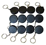 Novel Merk Black Hockey Puck 12-Piece Keychains for Party Favors & School Carnival Prizes