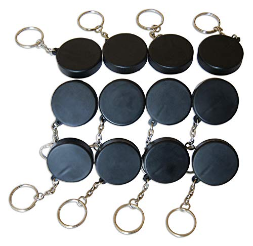 Novel Merk Black Hockey Puck 12-Piece Keychains for Party Favors & School Carnival Prizes ()