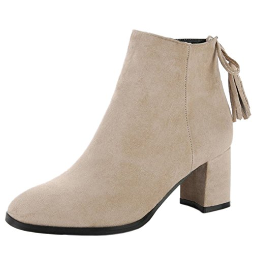 COOLCEPT Mujer Moda Tacon Ancho Fringes Botas with Cremallera 25 Ivory