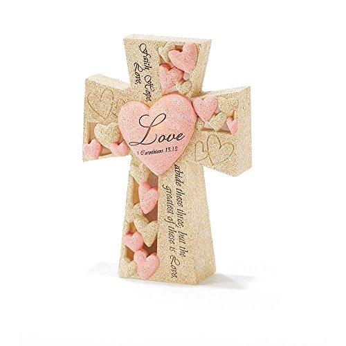 Faith Hope Love Heart Pink Sand 6 Inch Resin LED Light Up Tabletop Cross