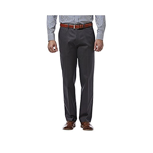 Haggar Premium No Iron Khaki Stretch Straight Fit Flat Front Pant Dark Gray 33x30 by Haggar