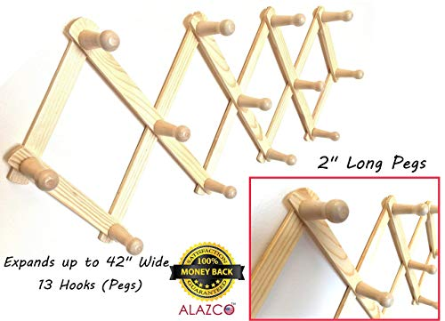 1 ALAZCO Accordion Style Wood Expandable Wall Rack 13 Hooks (Pegs) For Hat, Cap, Belt, Umbrella Coffee Mug Jewelry Hanging - 2