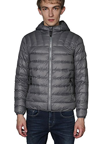 CHERRY CHICK Men's 2017 New Hooded Down Puffer Jacket (S, Space Grey) (New Chick)