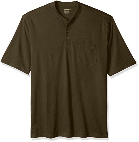 Wolverine Men's Big Knox Wicking Pocketed Short Sleeve Henley T-Shirt, Olive, Large/Tall
