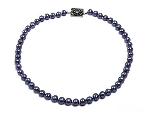 """Black Freshwater Cultured Pearl Necklace - JYX 8-9mm AAA Black Round Freshwater Cultured Pearl Necklace 18"""""""