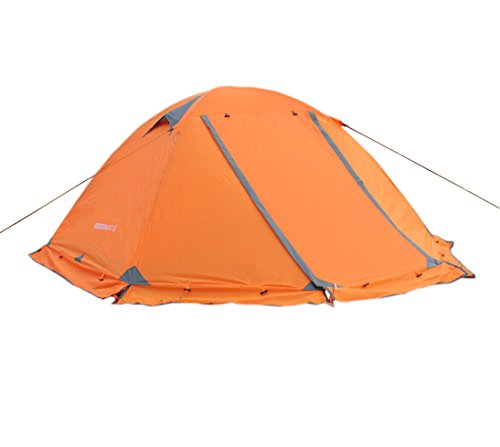 WoneNice 3-4 Season 1-2 Person Double Layer Camping Dome Tent with Aluminum Rod, Windproof Waterproof Backpacking Tent for Winter Snow Trip - Easy Set Up (Orange)