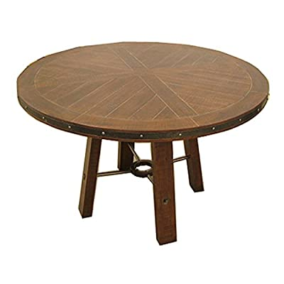 Emerald Home Castlegate Pine Brown Round Dining Table with Pieced, Plank Style Top And Metal Bracing - Distressed finish Turn Buckle Fasteners Solids & Veneer - kitchen-dining-room-furniture, kitchen-dining-room, kitchen-dining-room-tables - 41aZlMx%2B2JL. SS400  -