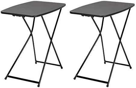 CoscoProducts COSCO 18 x 26 Indoor Outdoor Adjustable Height Personal Folding Tailgate Table, Black, 2 Pack Black