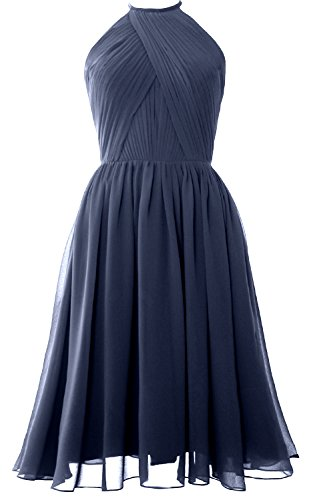 Macloth Gown Blue Short Cocktail Steel Dress Women Halter Open Bridesmaid Back Chiffon With nrgnfqpU