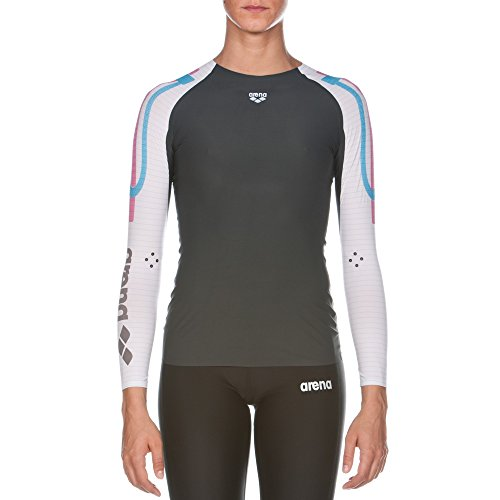 Arena 1D141 Women's Long Sleeve Top Powerskin Carbon Compression, Dark Grey/White - S