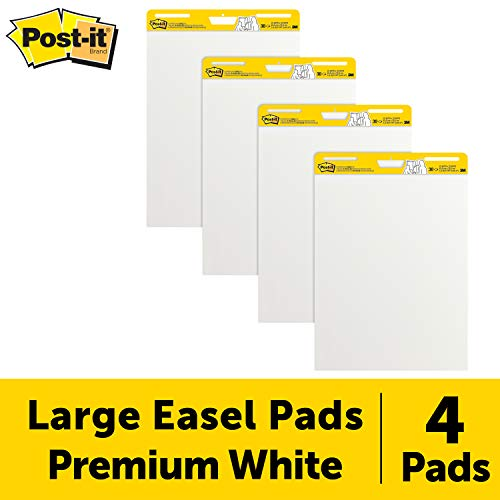Post-It Super Sticky Easel Pad, 25 x 30 Inches, 30 Sheets/Pad, 4 Pads, Large White Premium Self Stick Flip Chart Paper, Super Sticking Power (559-4) ()