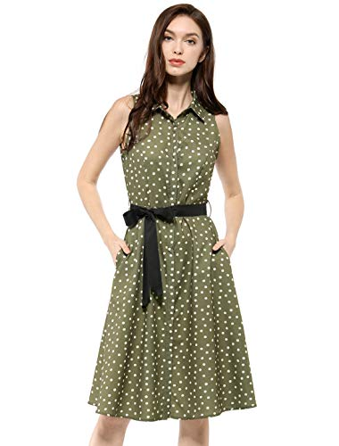 Sleeveless Belted Shirt Dress - Allegra K Women's Sleeveless Polka Dot Midi Shirt Dress S Olive Green