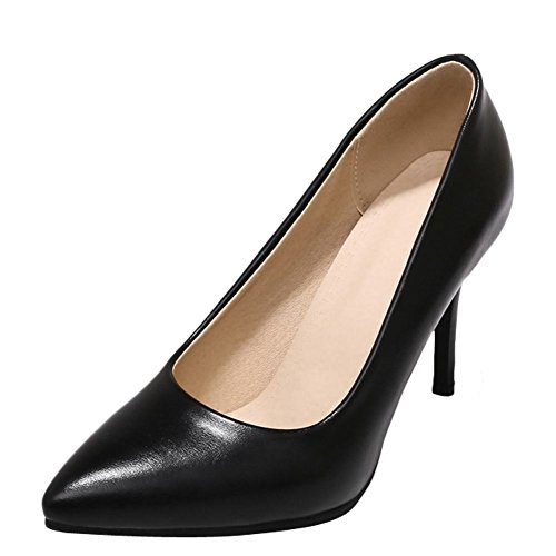 Carolbar Women's Solid Color Fashion High Heel Stiletto Pointed Toe Court Shoes Black Zyr1krI