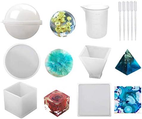 Lixiaoxuty Moldes de silicona y resina, incluye esfera, pirámide, cuadrado, redondo con 1 copa medidora y 5 pipetas de transferencia de plástico para resina epoxi, cera de vela, soap, base para boles: