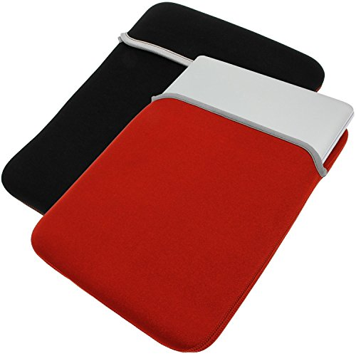 (AZ-Cover 7-Inch Red Black Soft Neoprene Reversible Sleeve Case Cover Pouch Bag For GOLE1 Windows 10 & Android 7inch all in one mini tablet PC + One Capacitive Stylus Pen)