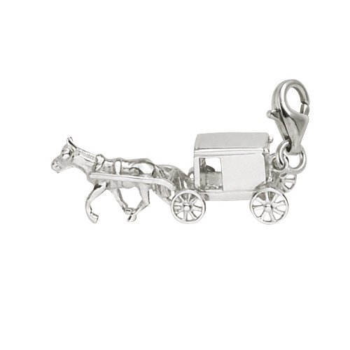 - Rembrandt Charms Amish Wagon Charm with Lobster Clasp, 14k White Gold