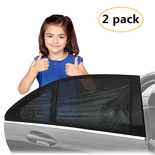 (KKTICK Car Window Sunshade for Baby, Car Sun Shade for Rear Window, UV Protection Car Sunshade Mesh Protector Breathable for Kids Pets, Universal for Cars and SUVs, 2 Pack)
