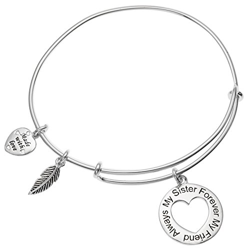Qina C Sterling Silver Always My Sister Forever My Friend Love Heart Feather Dangle Charm Adjustable Wire Bangle Bracelet