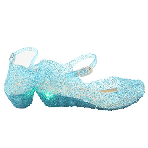 Jelly Sandal for Girls with LED Light Heel Princess Girls' Sparkle Dress Up Cosplay Heel Jelly Shoes Size 3 Blue